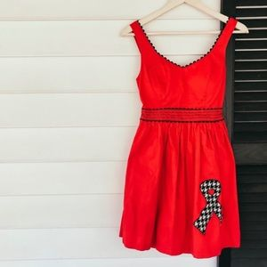 Anthro Judith March Red Houndstooth Dress